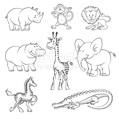 Safari And Jungle Animals In Hand Drawn Style African Animals Icons Vector Illustration Jungle Animals Pictures African Animals Animal Icon