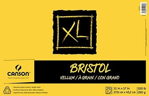 Amazon Com Canson Xl Series Bristol Vellum Paper Pad Heavyweight Paper For Pencil Vellum Finish Fold Over 100 Pound 11 X 17 In 2020 Paper Pads Vellum Paper Paper