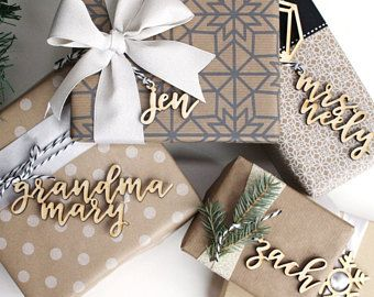 Unfinished Modern Custom Name Gift Tags Mini Christmas Ornament