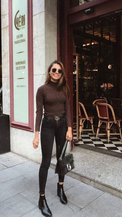 Brown polo neck with black skinny jeans and chelsea boo - Black Belt - Ideas of Black Belt - Fall casual street wear. Brown polo neck with black skinny jeans and chelsea boots. Love this easy to put together outfit.