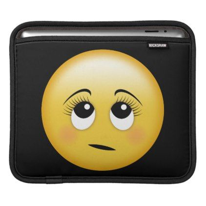 Rolling Eyes Emoji Girl Face With Eye Lashes Ipad Sleeve Zazzle