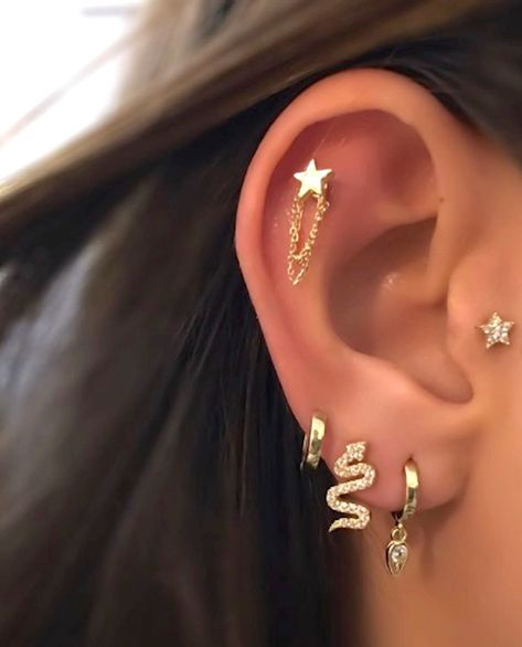 Excited to share this item from my shop: Solid Yellow Gold Dainty Star Chain Piercing Tragus Helix Cartilage Conch Ear Stud Earring Lobe Barbell Piercing Bijoux Piercing Septum, Piercing Face, Pretty Ear Piercings, Ear Piercings Chart, Piercing Chart, Ear Peircings, Facial Piercings, Ear Piercings Cartilage, Multiple Ear Piercings