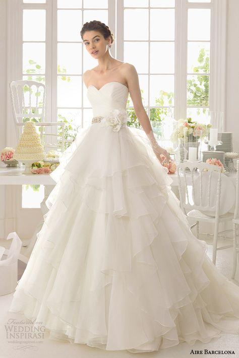 aire barcelona 2015 strapless wedding dresses | nisan/soz/dugun/kina