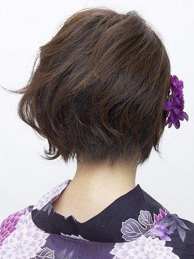 ショート浴衣 華やかエレガント ヘアアレンジ 着物 髪型 ボブ 髪型 浴衣に合う髪型