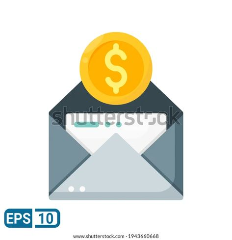 Envelope Money Icon Flat Style Isolated Stock Vector (Royalty Free) 1943660668