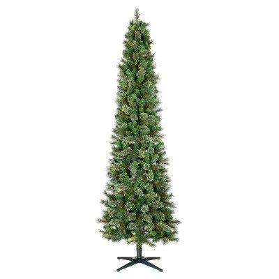 7 5ft Prelit Artificial Christmas Tree Pencil Virginia Pine Clear Lights Wondershop Target Christmas Tree Faux Christmas Trees Rotating Tree Stand