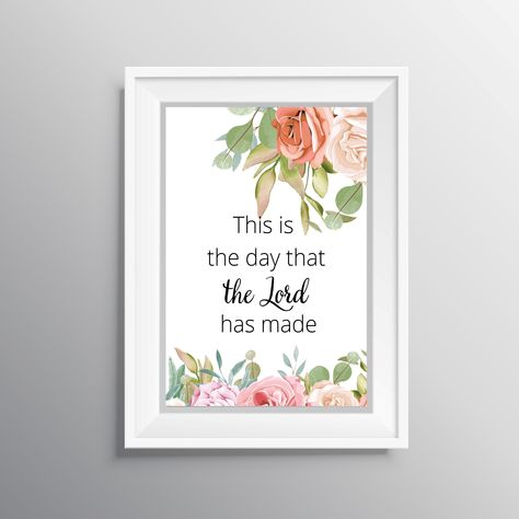 Bible verse wall art  This is the day that the Lord has made  Psalm 118:24  Inspirational wall decor  Christian typography art   Bible print