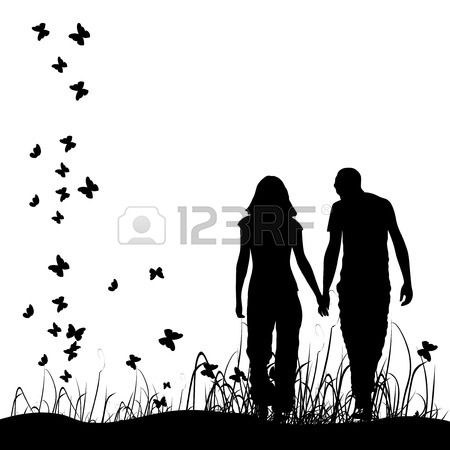 Couple on meadow, black silhouette Stock Vector