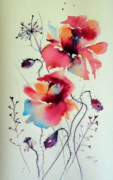 Mohnblumen Perfekte Geschenkidee In 2020 Blumen Aquarell Aquarell Mohnblumen Blumen Kunst