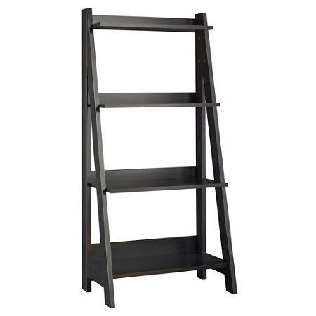 Bush Furniture Alamosa Ladder Bookshelf Classic Black Standard Delivery By Office Depot Officemax Ladder Bookcase Ladder Bookshelf Bush Furniture