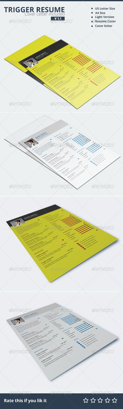 Stylish Resume  Cover Letter Template Design Resume cover letters
