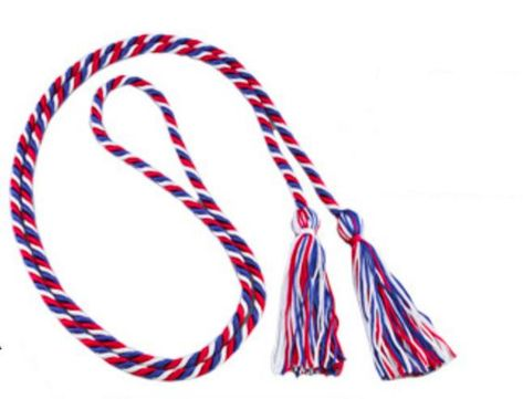 Scout graduation cords are something that are worn on graduation day and at other commemorative events for high school seniors to show recognition to students who have worked hard for years to earn honors in scouting ranks in various scouting programs throughout America. We are proud to offer a great looking red, white and blue cord to honor that Eagle Scoiut on graduation day. These cords are 70 inches long.