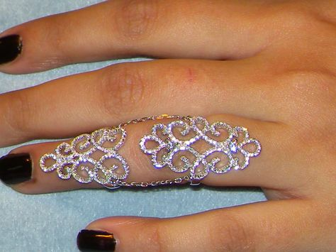 925 Silver ring,simulated diamond full finger ring,Filigree knuckle band size 7
