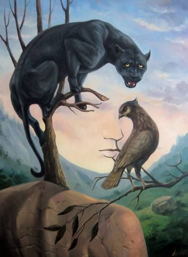 Black panther 60x80cm, oil painting, surrealistic artwork