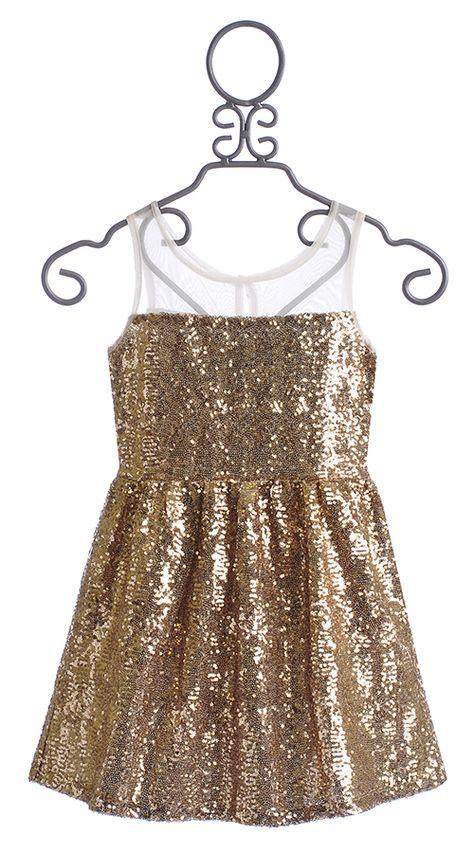 d4a4780665ca Elisa B Tween Party Dress Gold Sequin