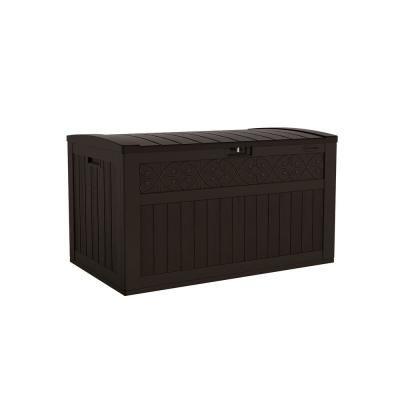 Suncast Trellis 134 Gal Resin Deck Box Bmdb3402j The Home Depot In 2020 Patio Storage Pool Storage Deck Box Storage