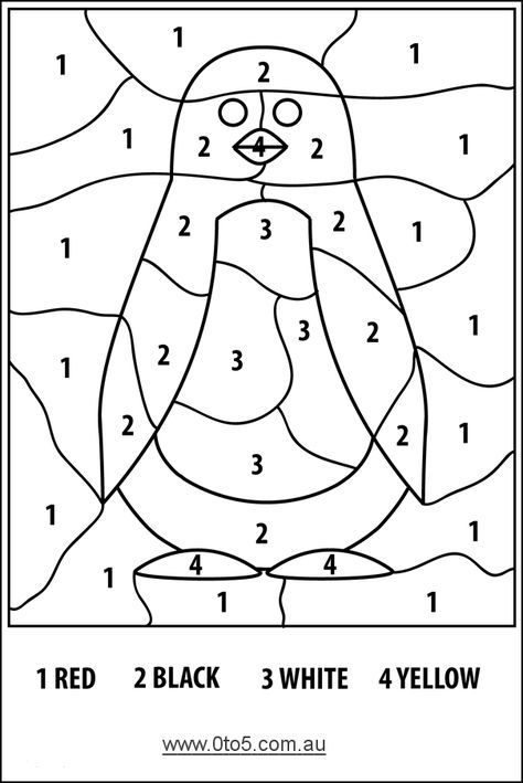 Color By Numbers Penguin Easy Penguin Coloring Pages Penguin Coloring Coloring Pages