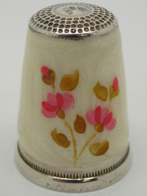 Bone China Thimble with Violet Purple and Pink Flowers  ~  Bone China Thimble Made In Japan