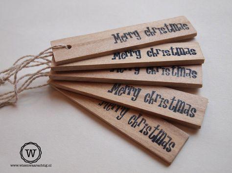 #Kadolabels kerst, ook te maken van roerhoutjes voor verf?