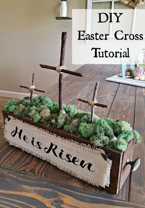 A beautiful and simple DIY Easter Cross decoration that can be used anywhere in the house. Check out this easy tutorial to make your own! diy cricut How to Make a Wooden Cross for Beautiful Decor - Leap of Faith Crafting Crosses Decor, Diy Ostern, Easter Projects, Diy Projects, Easter Cross, Easter Celebration, Hoppy Easter, Easter Bunny, Easter Eggs
