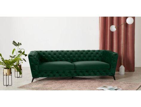 Sloan 3 Sitzer Sofa Samt In Tannengruen 2 Seater Sofa Green Sofa Sofa