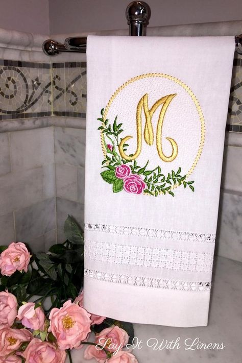 300 Best Embroidered Guest Towels Images Linen Guest Towels Embroidered Towels Bithday Gifts