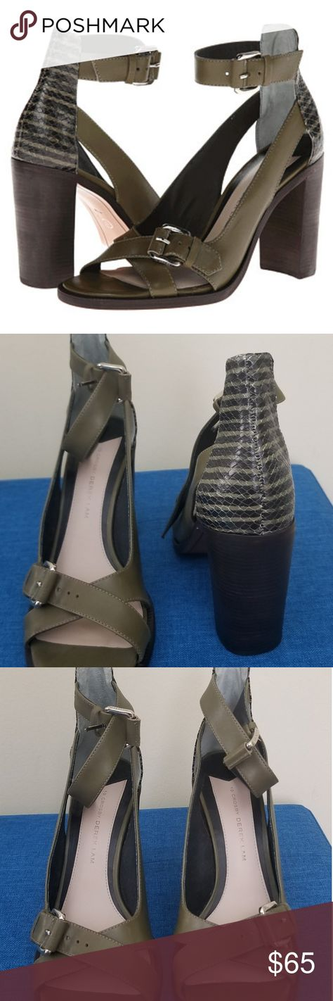 "NWOT Derek Lam 10 Crosby Safra Heels, Size 9 NWOT Derek Lam 10 Crosby Safra Heels Olive green eco leather with snake print back Open toe with ankle strap 4"" heel Size 9 Gorgeous!  *One has a small mark and slight roll up. Both easy fixes!  If you have any questions, please ask! Derek Lam Shoes Heels"