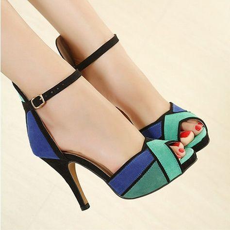 9a120ad135 Barato Baixo Preço por atacado Novo 2016 Mulheres Da Moda Sapatos Bombas  Peep toe sexy super salto alto vogue ankle strap shoes orange azul 0, ...