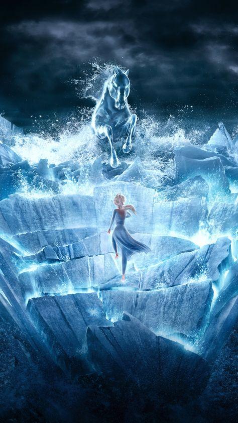 Frozen movie, snow horse, sea ride, 1440x2560 wallpaper