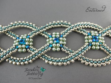 Entwined Bracelet Tutorial - Layered Right Angle Weave and Faux CRAW - Inspired by Celtic rope designs, the interlocking arms of this bracelet are made with right-angle l -