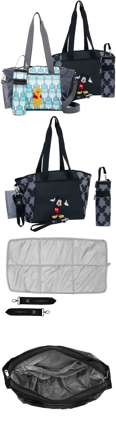 Diaper Bags 146530 Disney Baby Diaper Tote Bag Portable Travel Organizer Changing Pad Bottle Holder Buy It Now Onl Diaper Bag Tote Baby Diapers Baby Disney
