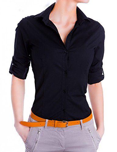1f25d798be Damen elegante Figurbetonte langarm Bluse Hemd ( 510 ) Farbe:Schwarz  :Medium. Elegante