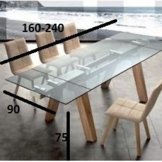 Table Repas Extensible Designa Plateau En Verre Pietement Bois Naturel Massif Table Repas Table Salle A Manger Table Design