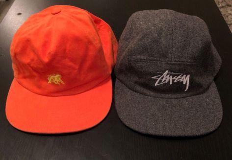 LOT STUSSY 2 Hats Strapback 5 Five Panel Gray Orange Cap Baseball Dad Hat  Men s  fashion  clothing  shoes  accessories  mensaccessories  hats (ebay  link) fa2022864e0