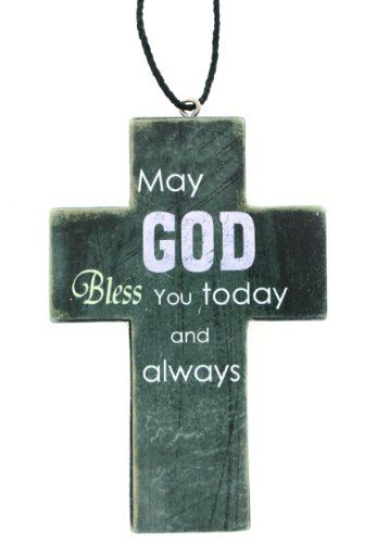 Ganz Cross Ornament May God Bless You