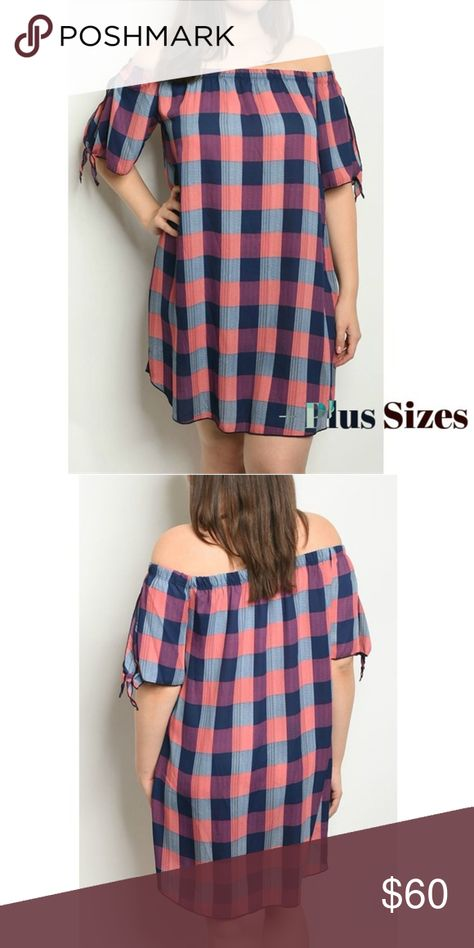 afbeafe4c1f4 PREVIEW Navy Plaid Off Shoulder Mini Dress Item is not yet available.