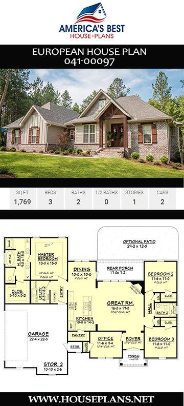 House Plan 041 00097 European Plan 1 769 Square Feet 3 Bedrooms 2 Bathrooms European House House Plans European House Plan