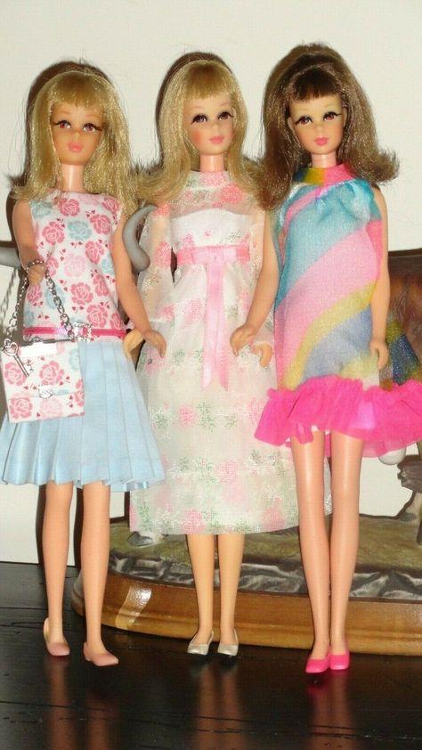 VINTAGE Mod Barbie// Francie Red Low Bow Heels Shoes Japan