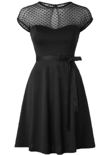 Vintage Black Mesh Panel Cape Sleeve Knee Length Skater Dress