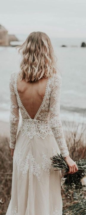 A Favorite Lisa Lace Bohemian Wedding Dress Cotton Lace With Open Back Handmade Long Sleeve Boho Beach Wedding Dress Boho Wedding Dress Lace Bohemian Wedding Dress Lace Beach Wedding Dress Boho