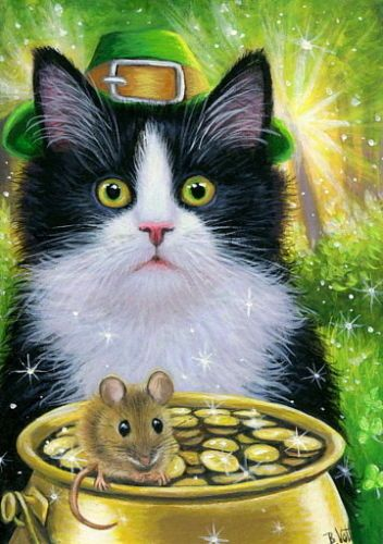 Tuxedo Kitten Cat Mouse St Patrick Pot Of Gold Fantasy Oe Aceo Print Of Painting Cat Art Painting Cat Art Fantasy Paintings