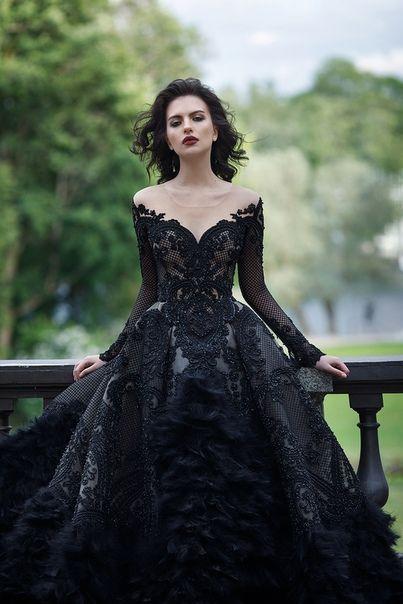 Unique Vintage Black Lave Deep V Neck Lace Wedding Dress Fall Or Winter Wedding Ideas Black Wedding Gowns Black Wedding Dresses Gowns