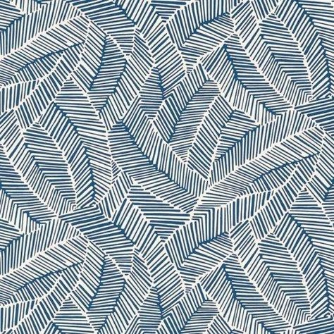 Schumacher Abstract Leaf Navy Wallpaper | DecoratorsBest