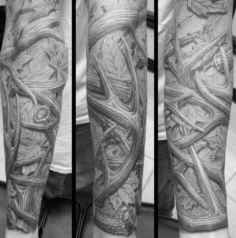 Full Sleeve Antler Tattoos For Guys - Tattoo Images