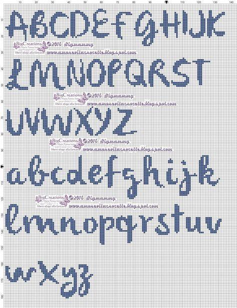 Lettere Alfabeto Punto Croce Corsivo Schemi Alfabeto Punto Croce
