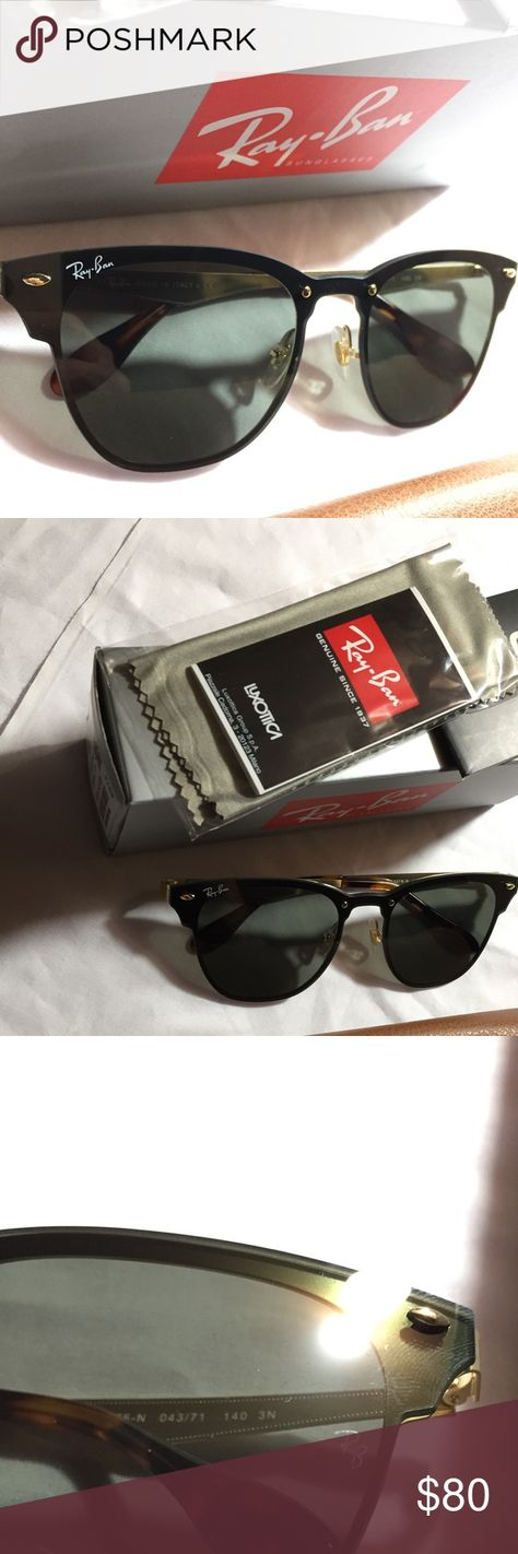 """Blaze Clubmaster RAY-BAN 3576 Sunglasses CatEye Ray-Ban """"Blaze ClubMaster""""  Sunglasses New   Authentic Blaze Collection (Unisex) RB3576N Metal Gold ... ef1473d7e5"""