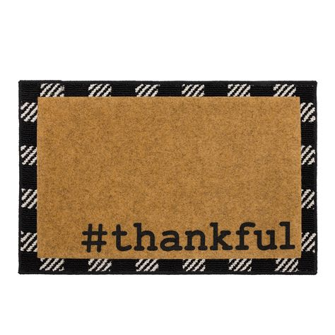 Mainstays Thankful Layered Doormat Set - Walmart Finds - Simply put, Mainstays' Hashtag Thankful Doormat expresses gratitude in a tech savvy style and features a festive layer of plaid underneath. Add some cozy cheer to any entryway with these unique layered rug designs! #walmarthome #falldecor #frontporchdecorideas #walmartfinds #layeredrugs