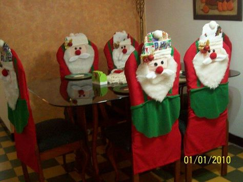 Details about  /Christmas Decor Chair Covers Xmas Santa Claus Seat Cover Stool Decoration