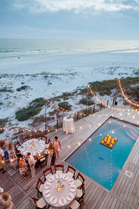 Cafe lighting beach house wedding with pool decor Beach House Wedding Reception, Night Beach Weddings, Backyard Wedding Pool, Small Beach Weddings, Small Wedding Receptions, Wedding After Party, Backyard Beach, Beach At Night, Pool Wedding Decorations