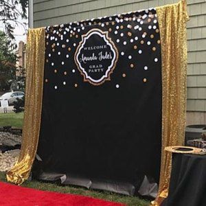 Black Gold And Marble Balloon Garland Backdrop And Dessert Table